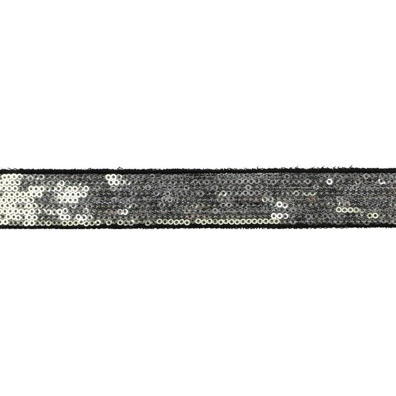 Тесьма декоративная с пайетками 2см 25-27м/рулон,цв:серебро на черной сетке