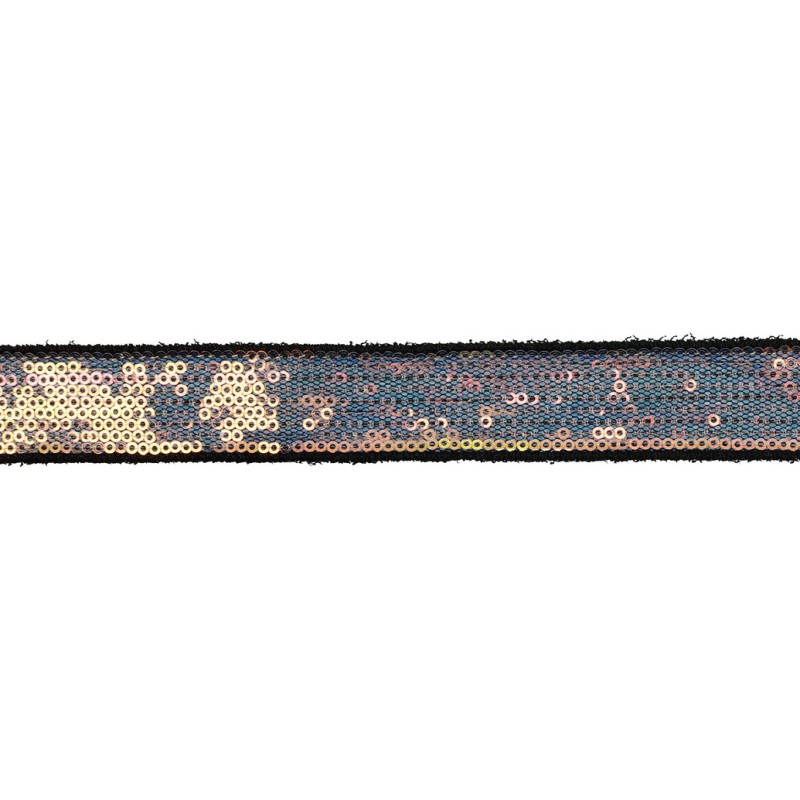 Тесьма декоративная с пайетками 2см 25-27м/рулон,цв:св.мультиколор на черной сетке