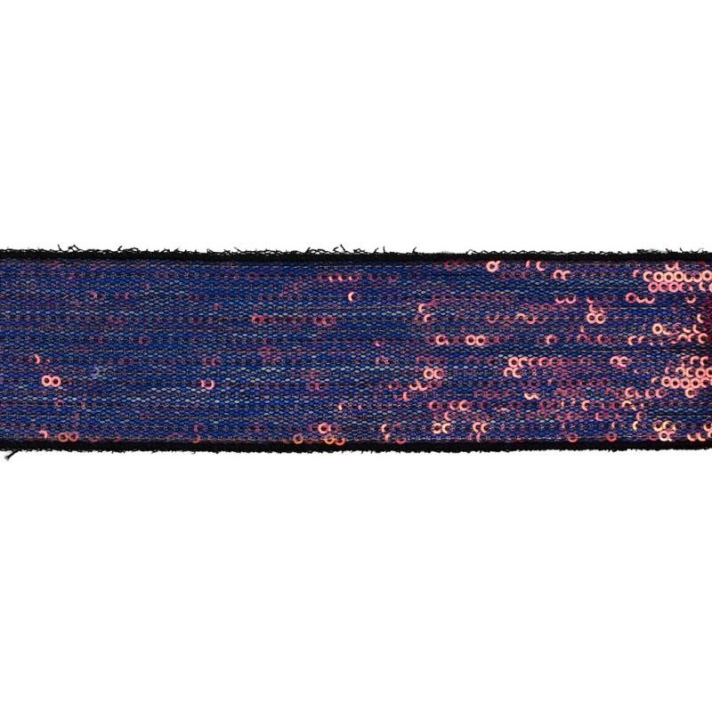 Тесьма декоративная с пайетками 4см 25-27м/рулон,цв:т.мультиколор на черной сетке