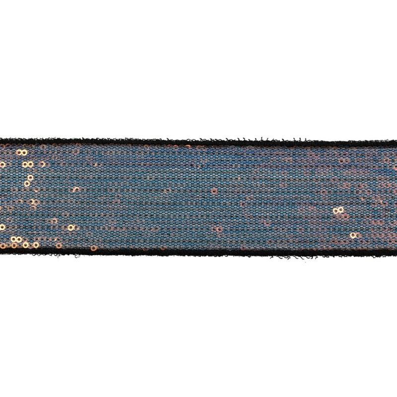 Тесьма декоративная с пайетками 4см 25-27м/рулон,цв:св.мультиколор на черной сетке