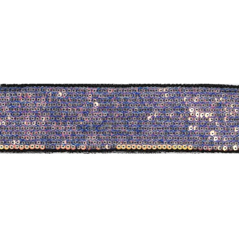 Тесьма декоративная с пайетками 4см 25-27м/рулон,цв:св.мультиколор/серебро на черной сетке