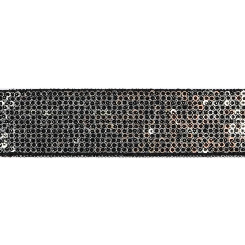 Тесьма декоративная с пайетками 4см 25-27м/рулон,цв:черный/серебро на черной сетке