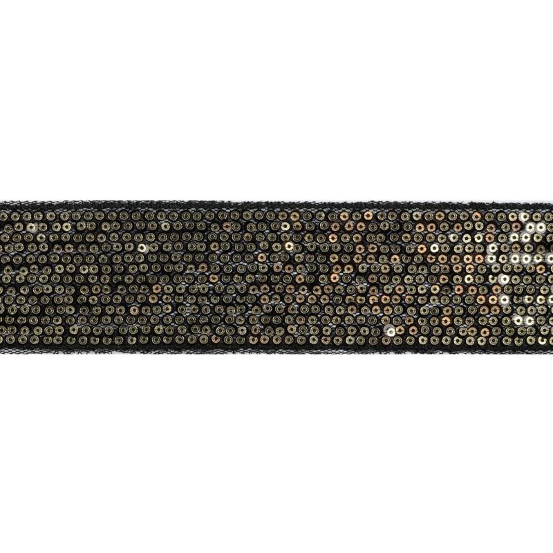 Тесьма декоративная с пайетками 4см 25-27м/рулон,цв:черный/золото на черной сетке