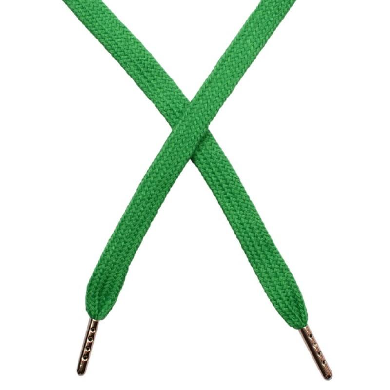 Шнур плоский чулок хлопок 1-1,2*120см с наконечником, цв: морской зеленый