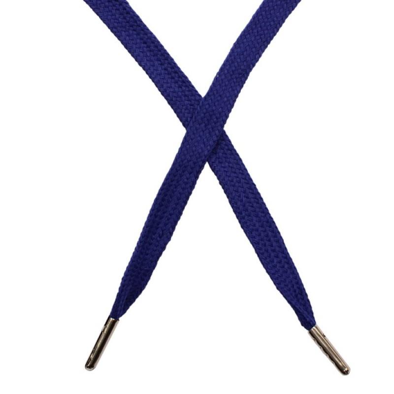 Шнур плоский чулок хлопок 1-1,2*120см с наконечником, цв: темно-синий