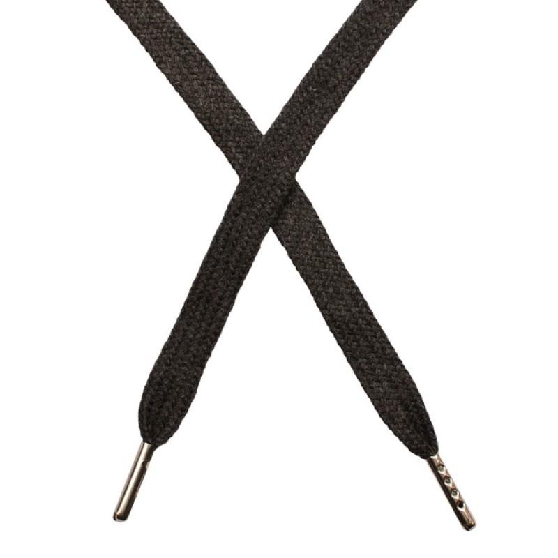 Шнур плоский чулок хлопок 1-1,2*120см с наконечником, цв:т.серый меланж