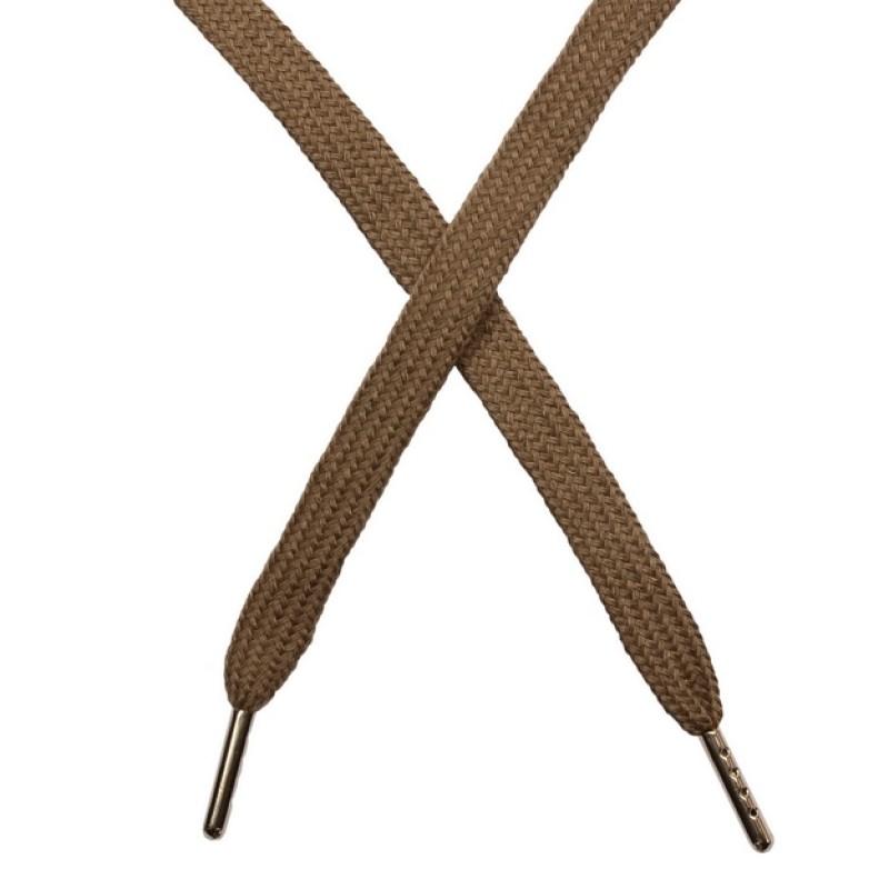 Шнур плоский чулок хлопок 1-1,2*120см с наконечником, цв: мокачино