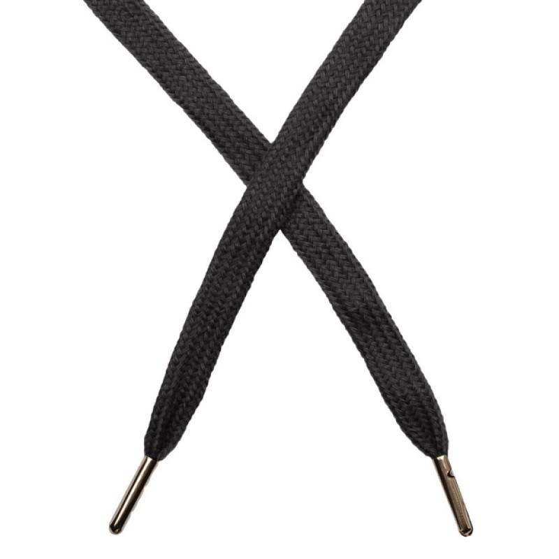 Шнур плоский чулок хлопок 1-1,2*120см с наконечником, цв: графит