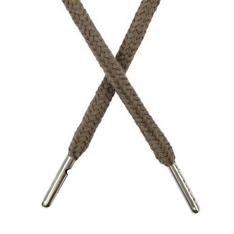 Шнур круглый хлопок 0,5*133см с наконечником, цв: болотный хаки