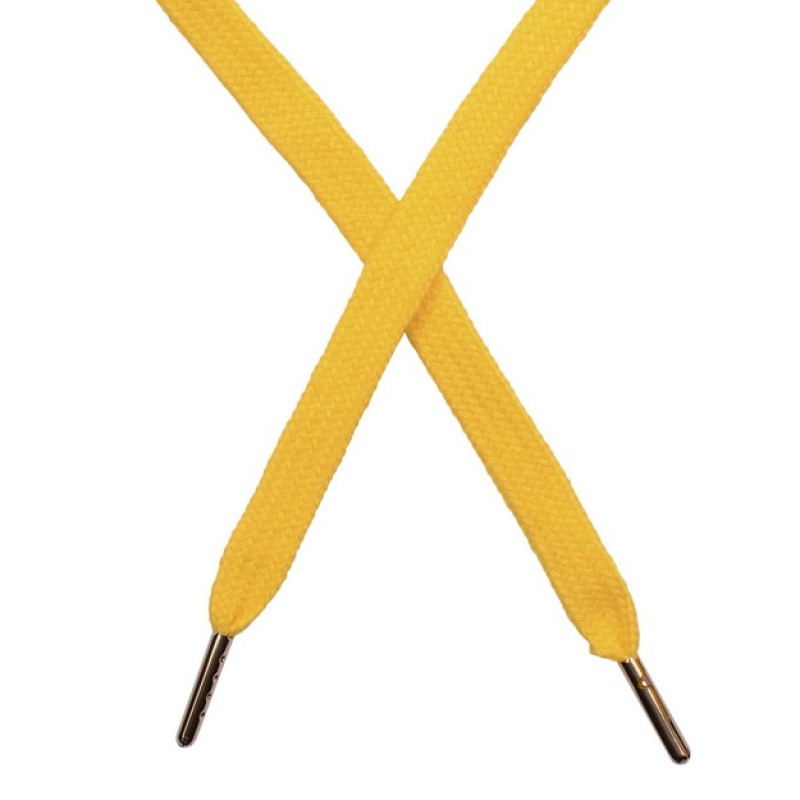 Шнур плоский чулок хлопок 1-1,2*120см с наконечником, цв: жёлтый