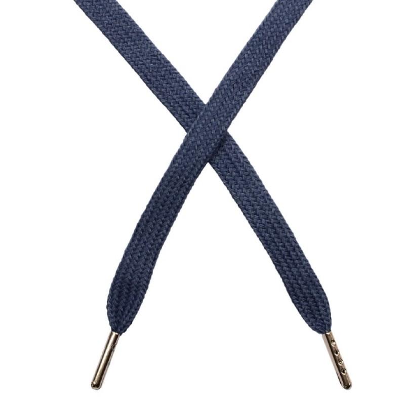 Шнур плоский чулок хлопок 1-1,2*120см с наконечником, цв: сизый