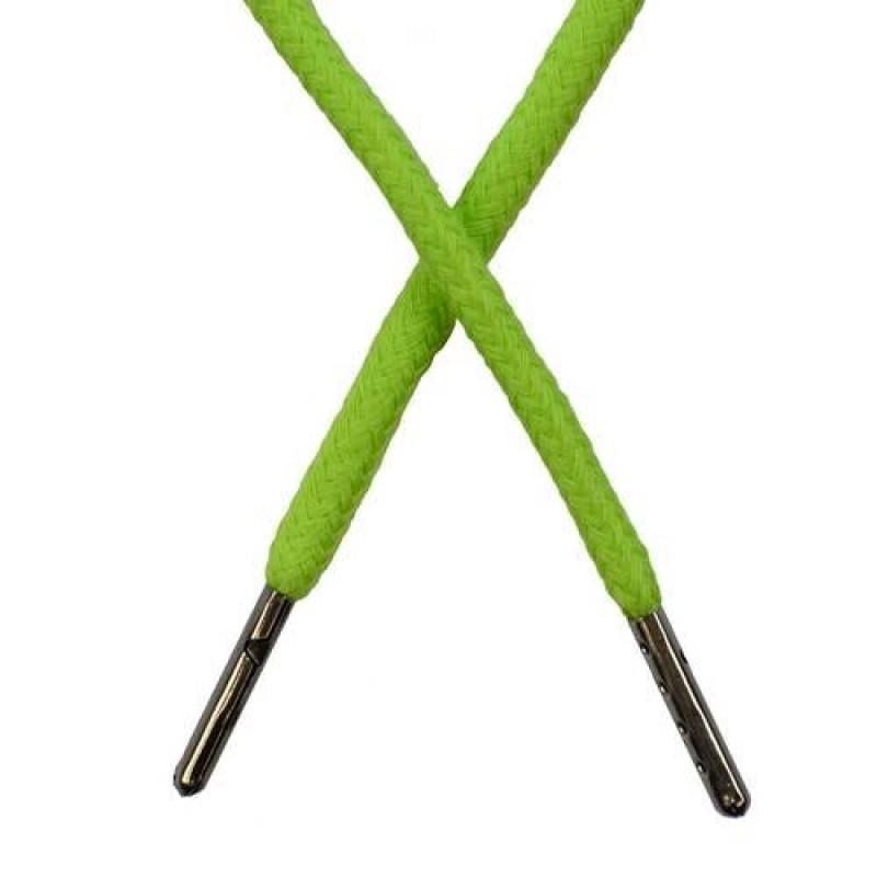 Шнур круглый хлопок 0,5*133см с наконечником, цв: желто-зеленый