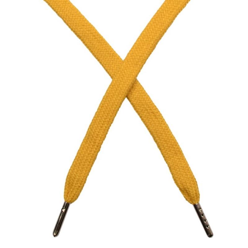 Шнур плоский чулок хлопок 1-1,2*120см с наконечником, цв: золотой