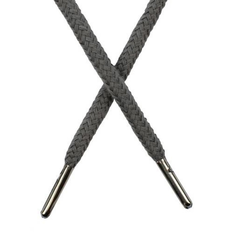 Шнур круглый хлопок 0,5*133см с наконечником, цв: холодный серый