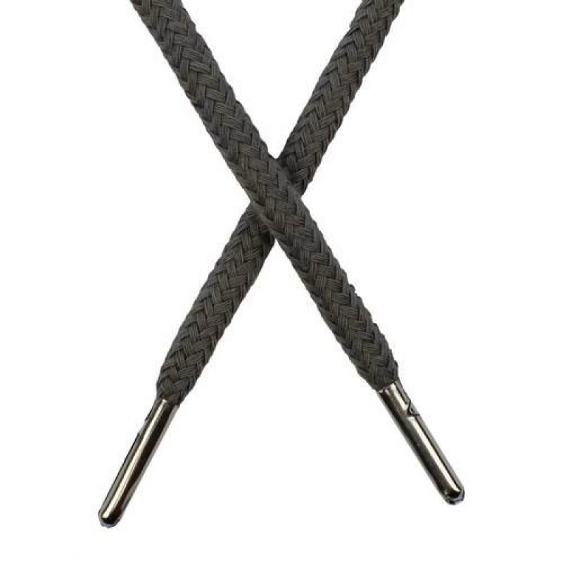 Шнур круглый хлопок 0,5*133см с наконечником, цв: теплый-серый