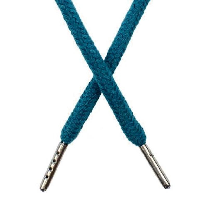 Шнур круглый хлопок 0,5*133см с наконечником, цв: бирюзовый