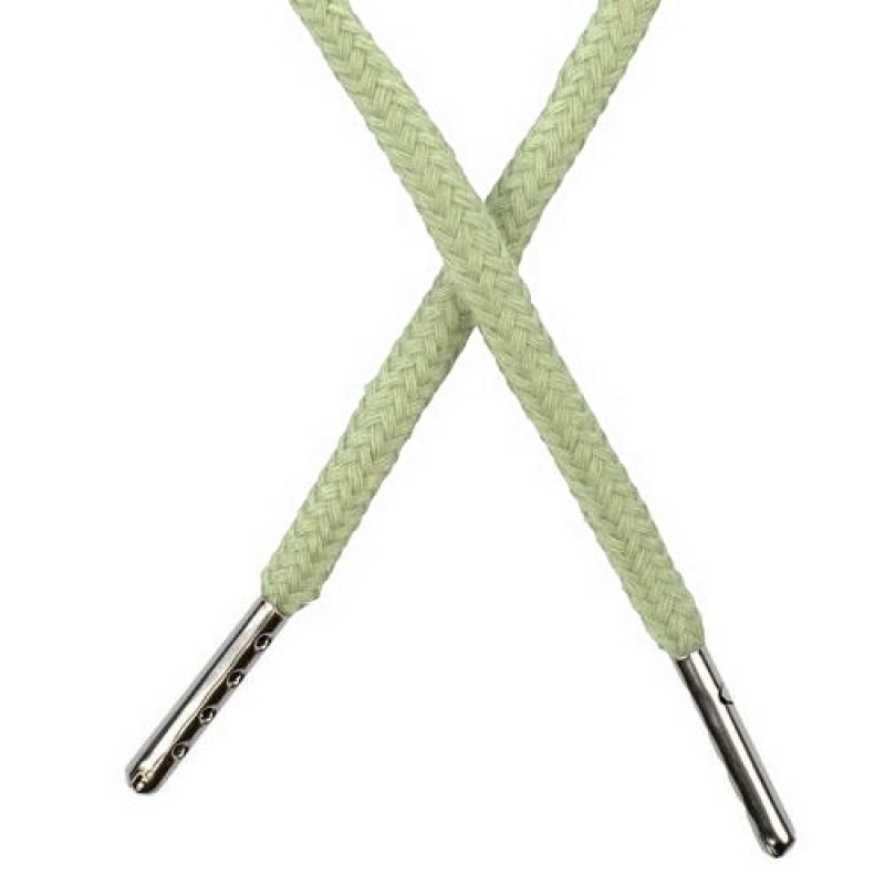 Шнур круглый хлопок 0,5*133см с наконечником, цв: бледно-зеленый
