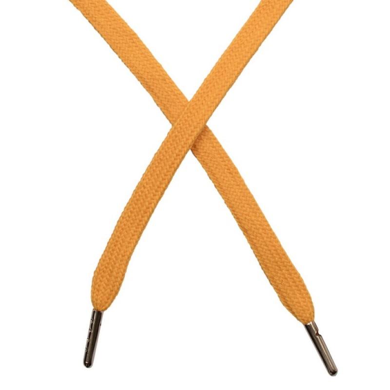 Шнур плоский чулок хлопок 1-1,2*120см с наконечником, цв:янтарный