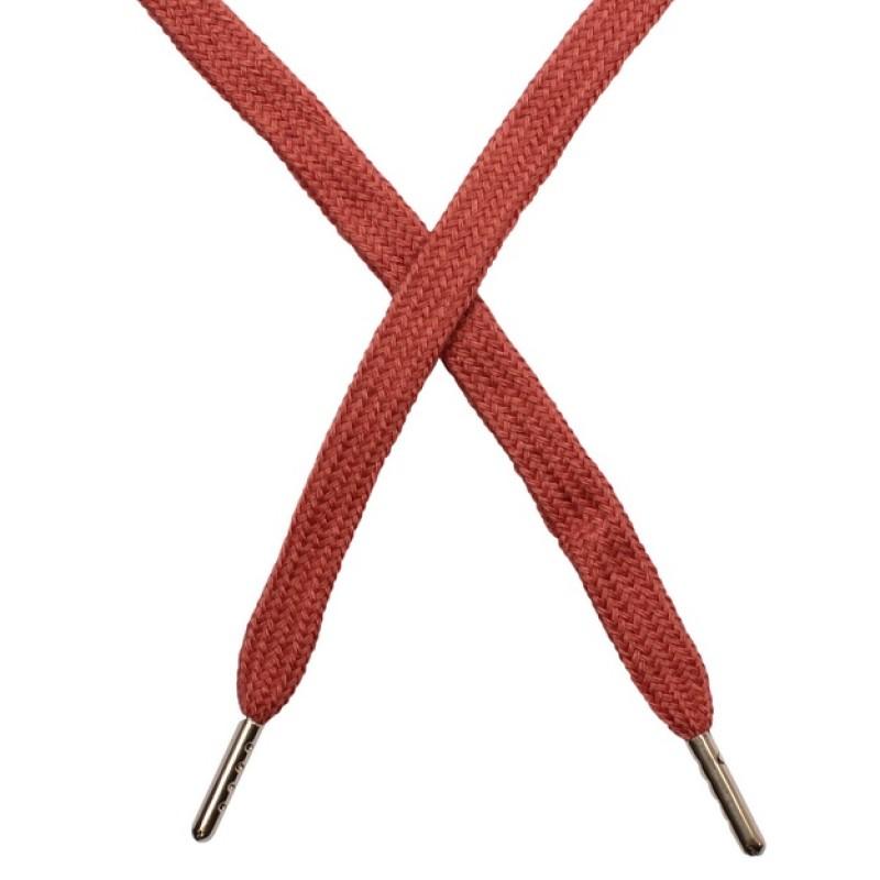 Шнур плоский чулок хлопок 1-1,2*120см с наконечником, цв: т.бежево-розовый
