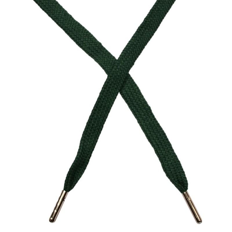 Шнур плоский чулок хлопок 1-1,2*120см с наконечником, цв: изумрудный
