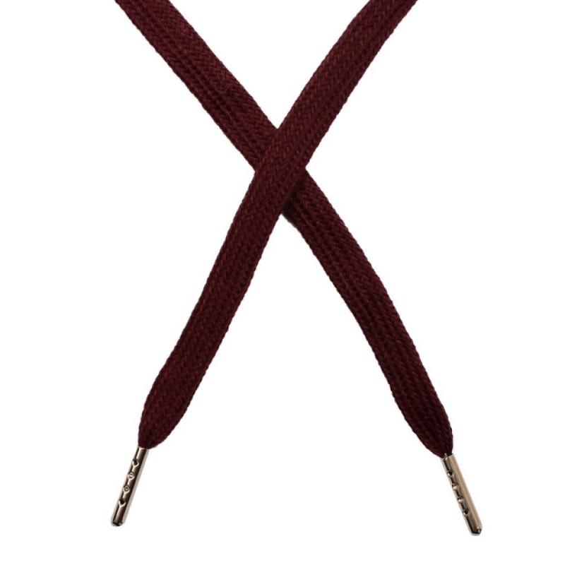 Шнур плоский чулок хлопок 1-1,2*120см с наконечником, цв: бордовый