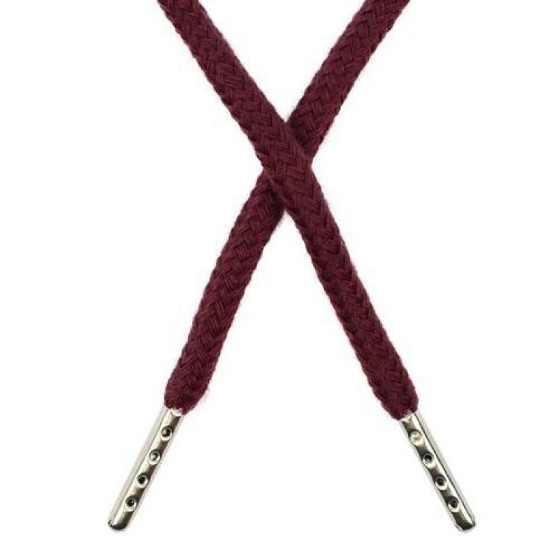 Шнур круглый хлопок 0,5*133см с наконечником, цв: бордовый