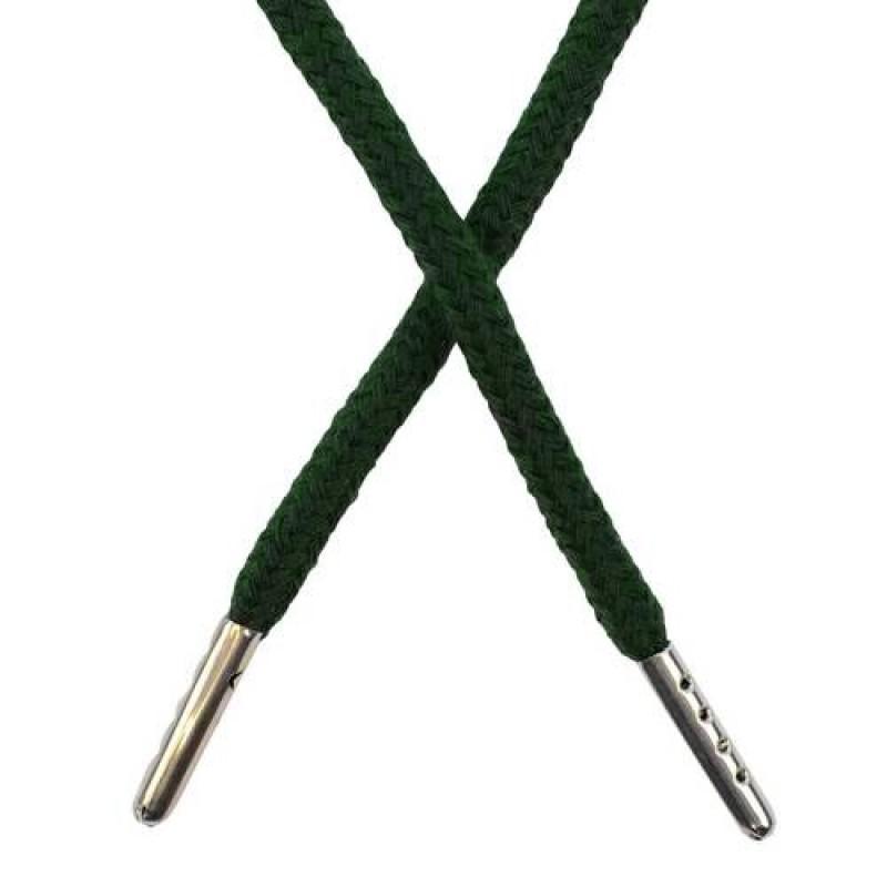 Шнур круглый хлопок 0,5*133см с наконечником, цв: темно-зеленый