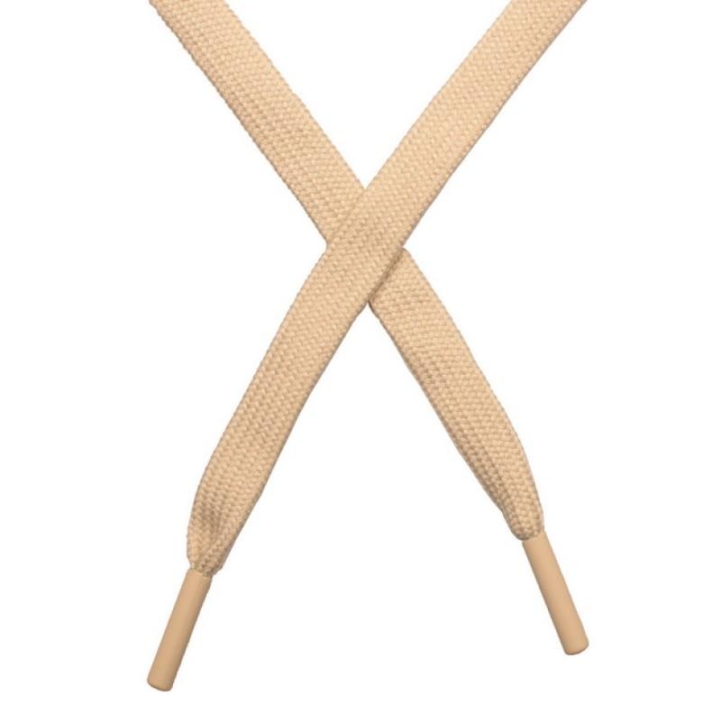 Шнур плоский хлопок 1*140см с наконечником, цв: св.бежевый