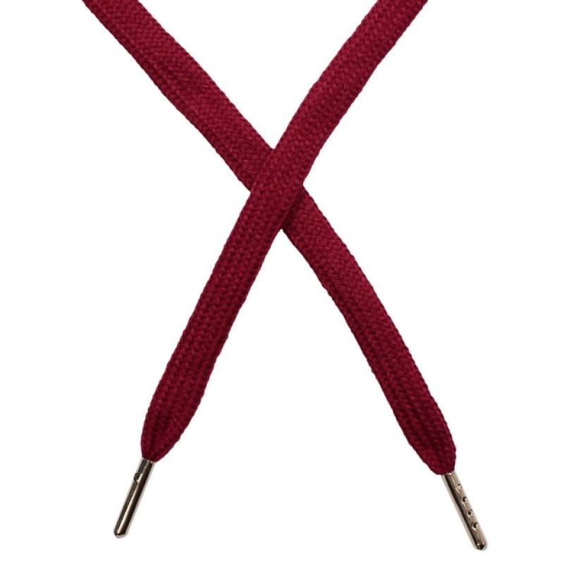 Шнур плоский чулок хлопок 1-1,2*120см с наконечником, цв: фиолетово бордовый