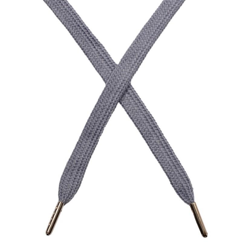 Шнур плоский чулок хлопок 1-1,2*120см с наконечником, цв: серо-мятный