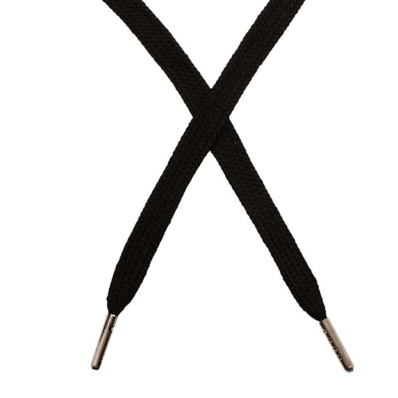 Шнур плоский чулок хлопок 1-1,2*120см с наконечником, цв: чёрный
