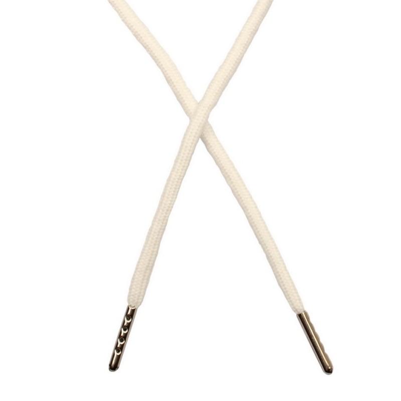 Шнур круглый полиэстер 0,5*130см с наконечником, цв: белый
