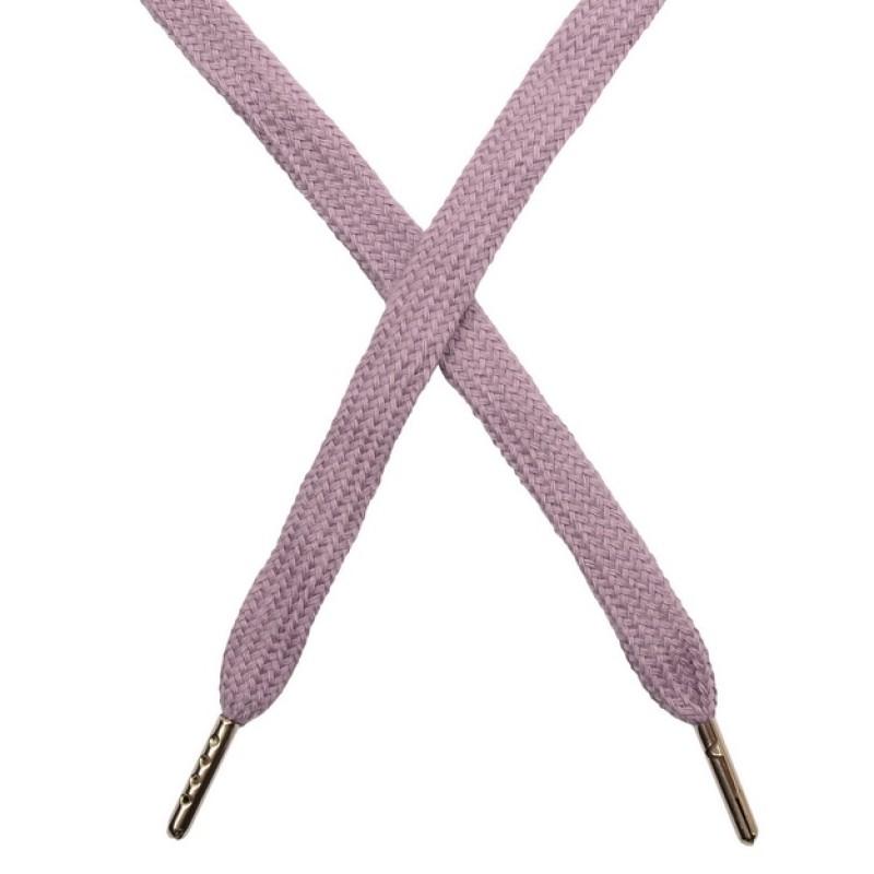 Шнур плоский чулок хлопок 1-1,2*120см с наконечником, цв:дымчато-розовый