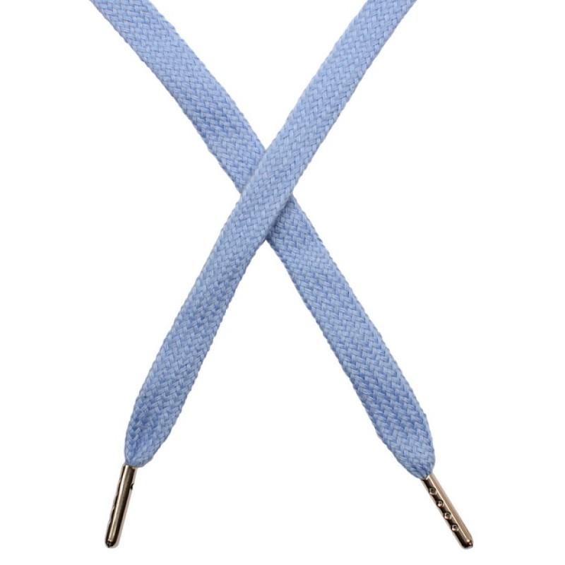 Шнур плоский чулок хлопок 1-1,2*120см с наконечником, цв: голубой 061