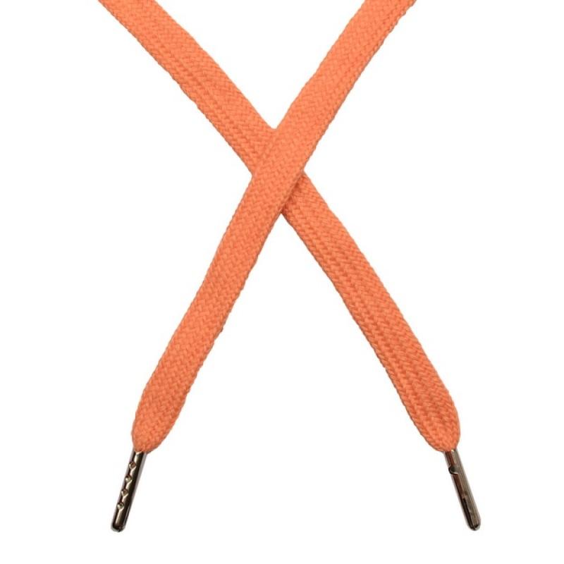 Шнур плоский чулок хлопок 1-1,2*120см с наконечником, цв:светло- персиковый