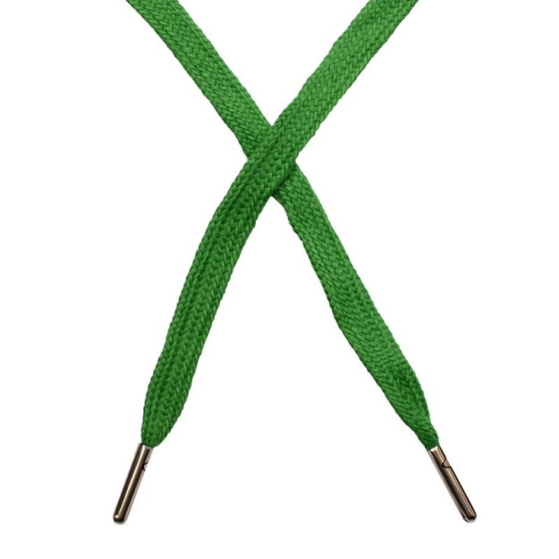 Шнур плоский чулок хлопок 1-1,2*120см с наконечником, цв: лесной зелени