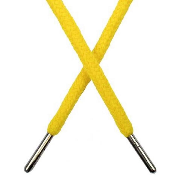 Шнур круглый хлопок 0,5*133см с наконечником, цв: желтый
