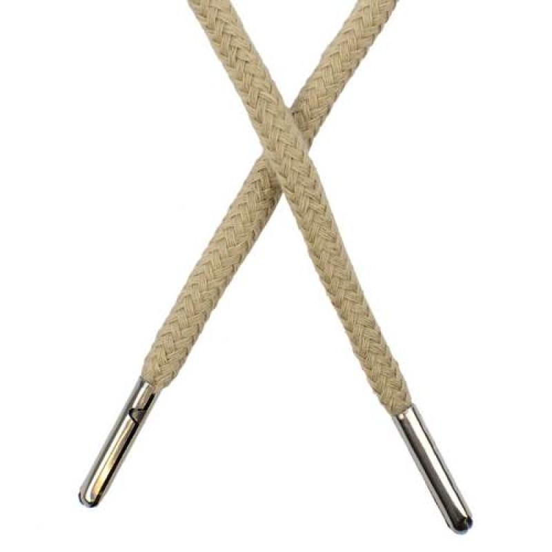 Шнур круглый хлопок 0,5*133см с наконечником, цв: холодный бежевый