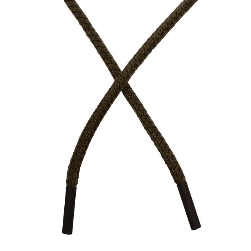 Шнур круглый плетеный хлопок/акрил 0,5*130см с наконечником, цв: хаки
