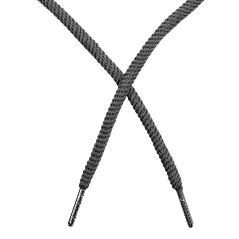 Шнур круглый витой нейлон 0,5*120см с наконечником, цв: темно-серый