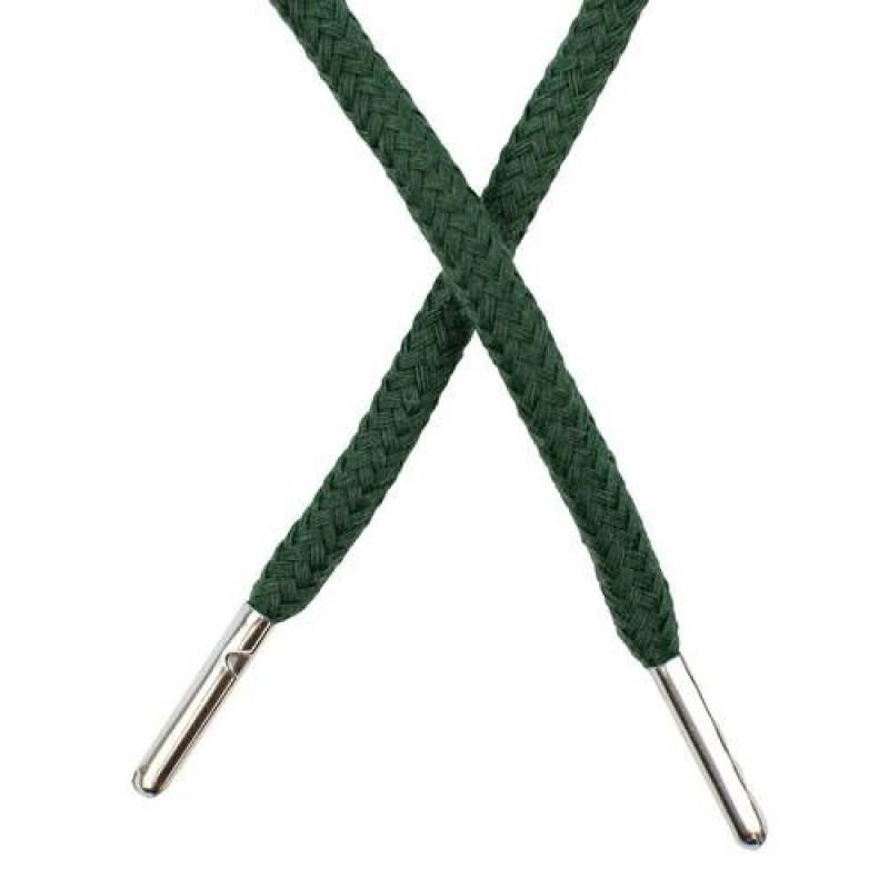 Шнур круглый хлопок 0,5*133см с наконечником, цв: сосновый зеленый