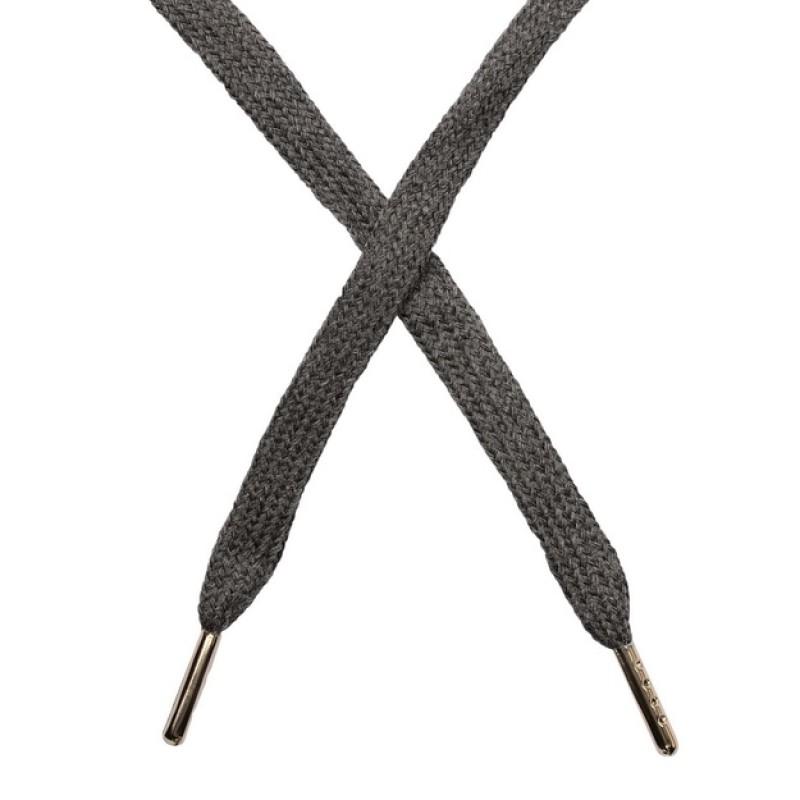 Шнур плоский чулок хлопок 1-1,2*120см с наконечником, цв: серый меланж