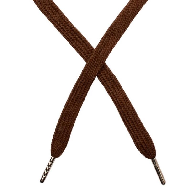 Шнур плоский чулок хлопок 1-1,2*120см с наконечником, цв:коричневый