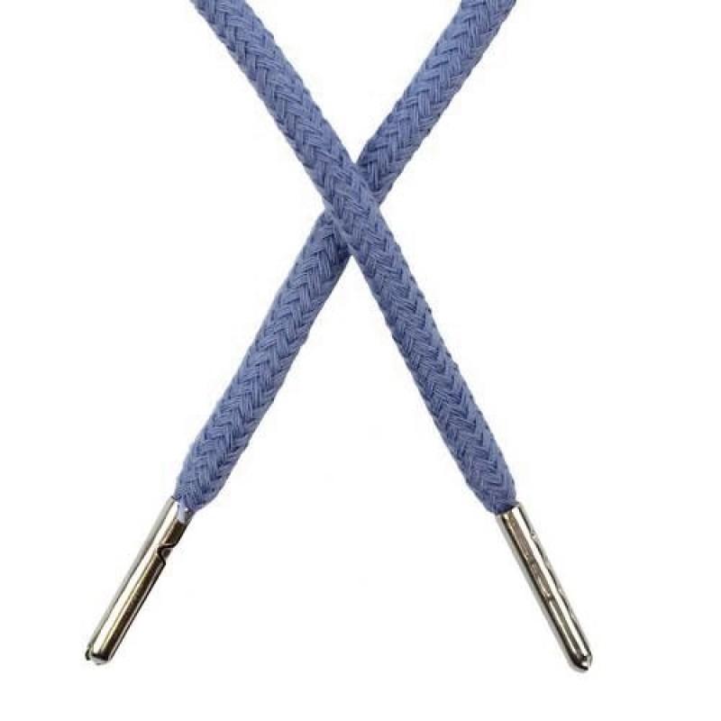 Шнур круглый хлопок 0,5*133см с наконечником, цв: синей стали
